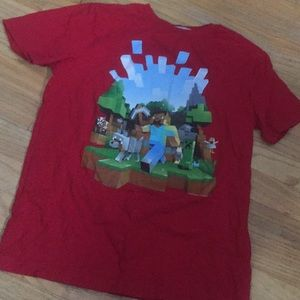 Old navy boys 15-16 minecraft top shirt red